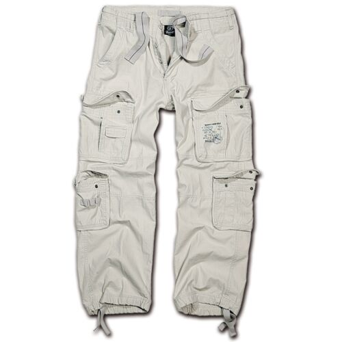 Brandit-Pure Vintage Trouser old Bianco White Cargo Pant Outdoor Army Pantaloni Esercito