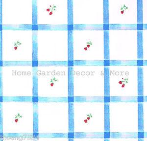 Blue White Plaid Check Fruit Vinyl Contact Paper Shelf