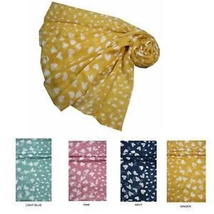 Scarf Heart Print Navy Pink Green Mustard Yellow Sarong Wrap Shawl