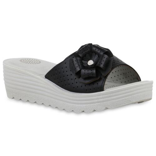 Damen Sandaletten Pantoletten Wedges Keilabsatz Schuhe 830671 Trendy Neu