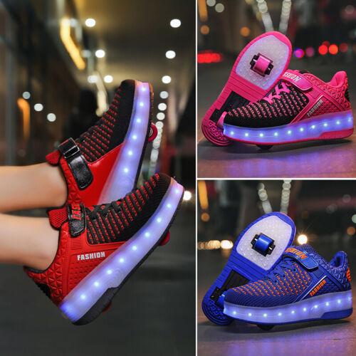 LED Fashion Sneakers Kids Girls Boys Light Up Wheels Skate Roller Sports Shoes