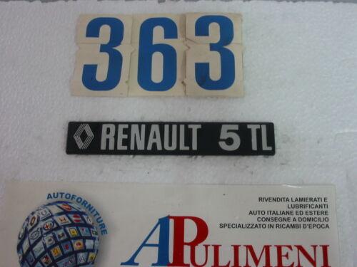 "BADGE R524 FREGIO-LOGO-SIGLA-SCRITTA POSTERIORE IN PLASTICA ""RENAULT 5 TL"""