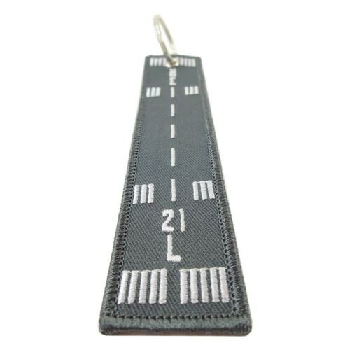 Runway 21L-3R Embroidered Key Chain
