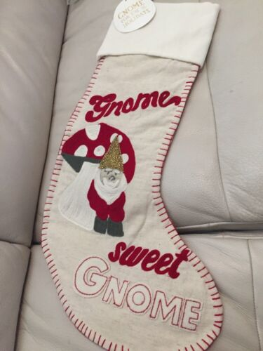 1 Pottery Barn PB Teen Gnome Sweet Gnome Stocking Santa Christmas Holiday