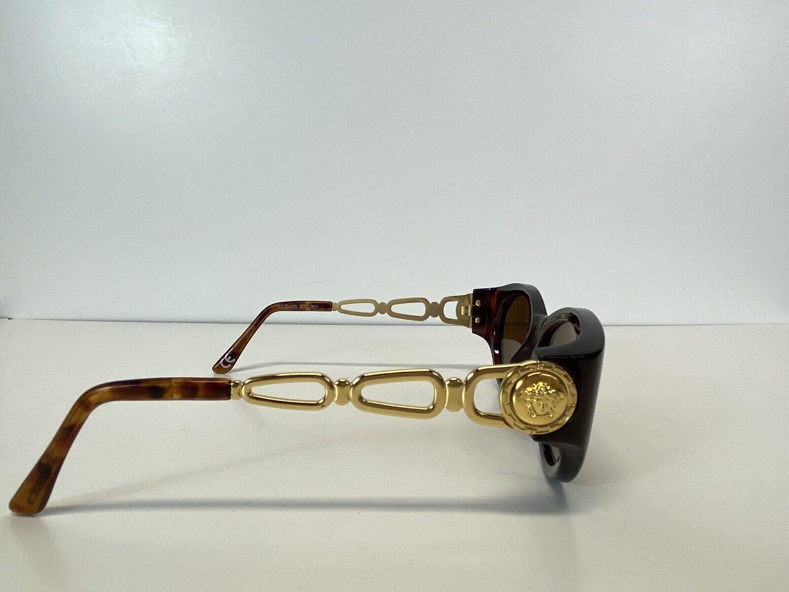 Rare Vtg Gianni Versace Brown Gold Medusa Sunglas… - image 4