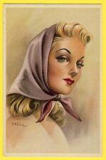 cpa Illustration PORTRAIT de FEMME au Foulard Signée STEEN Roukes & Erhart BAARN