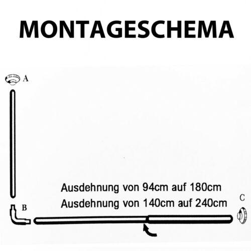 Winkelstange Duschvorhang Stange Weiß Chrom Winkel U//L und Oval Form bis 3m