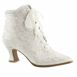 Victorian Lace Wedding Shoe Ivory Granny Boot