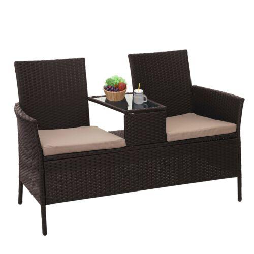 cojines crema marrón balcón Poly-banco de asiento de ratán con mesa mcw-e24