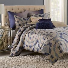 VUE Kavala Full-Queen Duvet Set Beige Blue Gray Abstract Tie-Dye Retro Bedding