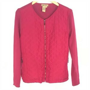 Peck & Peck Fuchsia Pink Zip Up Sweater Women Size Large Quilted Silk
