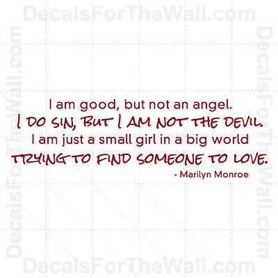 Marilyn Monroe I'm Good But Not An Angel Girl Wall Decal Vinyl Sticker Quote J72