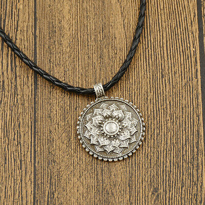 Tibet Mandala Flower Pendant Necklace Fine Carved Spiritual Amulet Jewelery Gift