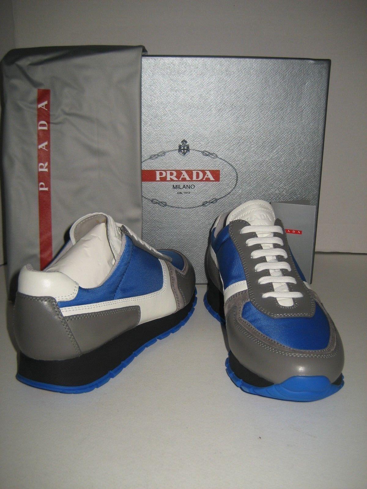 Zapatos De Cuero nuevo nuevo nuevo Mujeres PRADA US 8 EU 38.5 Zapatillas Tenis blancoo gris Azul Caja  suministro directo de los fabricantes