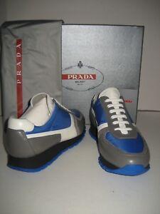 62ea42cd37ee New PRADA Women US 6 EU 36.5 Sneakers Blue Gray White Leather Tennis ...