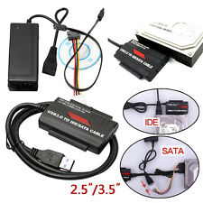 "USB 3.0 to 2.5""/3.5"" SATA / IDE Hard Drive Adapter with Power Supply UK Plug"