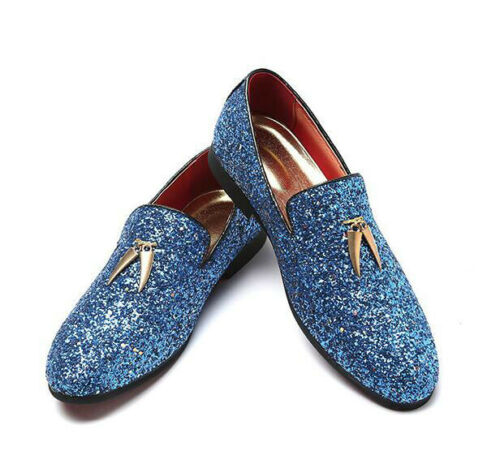 Men Blue White Sequins Flat Floral Fashion Wedding Slip Ons Dress Shoes