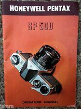 1973 HONEYWELL PENTAX SP 500 CAMERA OWNER'S OPERATING MANUAL INSTRUCTION MANUAL