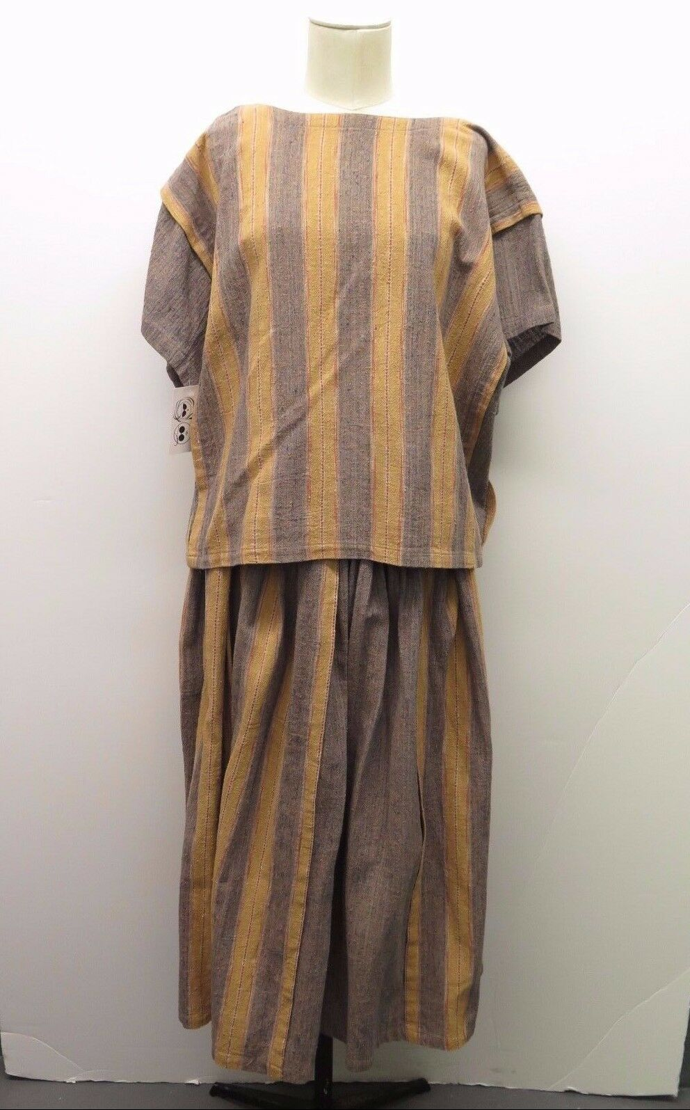 Vintage Issey Miyake Plantation Striped Top & Skirt Set Sz M