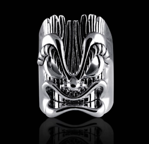 Awesome Tiki Face Design In Real Sterling 925 Silver Men's Vintage Style Ring