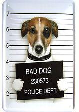 """BAD DOG"" WITZIGES JACK RUSSELL TERRIER GANGSTER MOTIV DEKO BLECHSCHILD TIN SIGN"