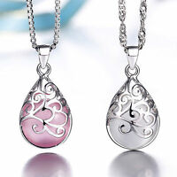 Ladies Fashion 925 Sterling Silver Moonlight Opal Pendant Necklace Love Gifts