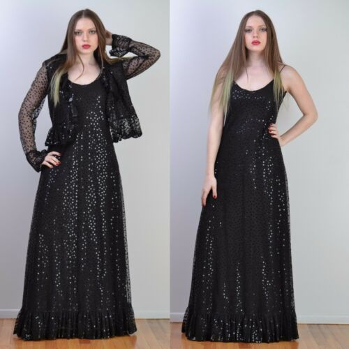 VTG 70s RUBEN PANIS Black SEQUIN + LACE Couture MA
