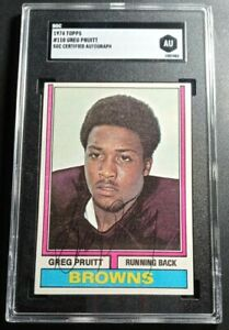 1974 Topps Greg Pruitt SGC Cert Signed Autograph Browns Rookie Card NICE