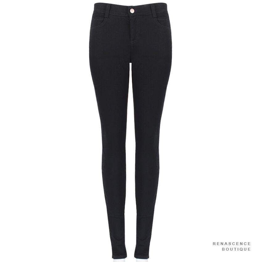 STELLA Mccartney Jet nero Jeans Attillati-RACCORDO Pizzo Taglio Gamba Jeans W29