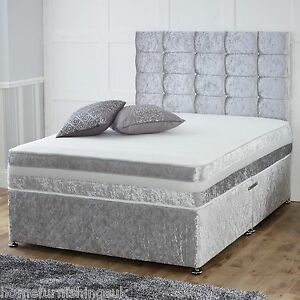 New-In-Hf4you-1-000-Pocket-Sprung-Memory-Crushed-Velvet-Divan-Bed-In-Silver