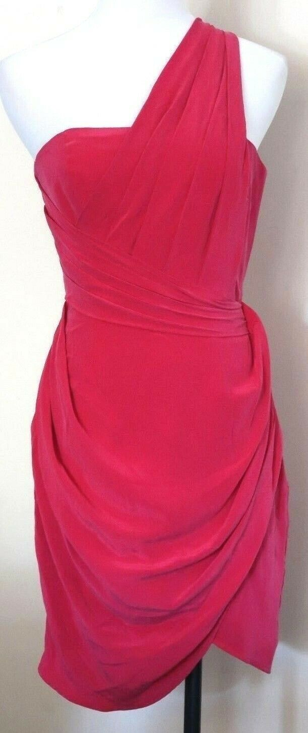 Ladies ZIMMERMANN Silk Dress Größe 0  Ruby One Shoulder   rrp   MBC