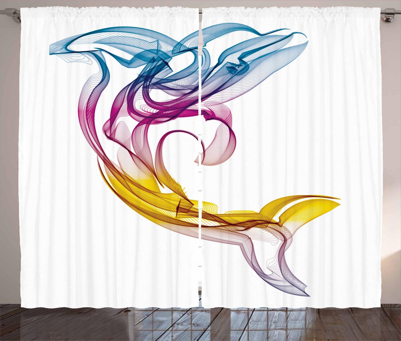Arte Abstracto Cortinas Cortinas 2 panel de ventana de Delfín acuático Set 108x84 pulgadas