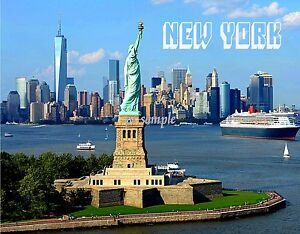 New York Skyline With Statue Of Liberty And Freedom Tower Fridge