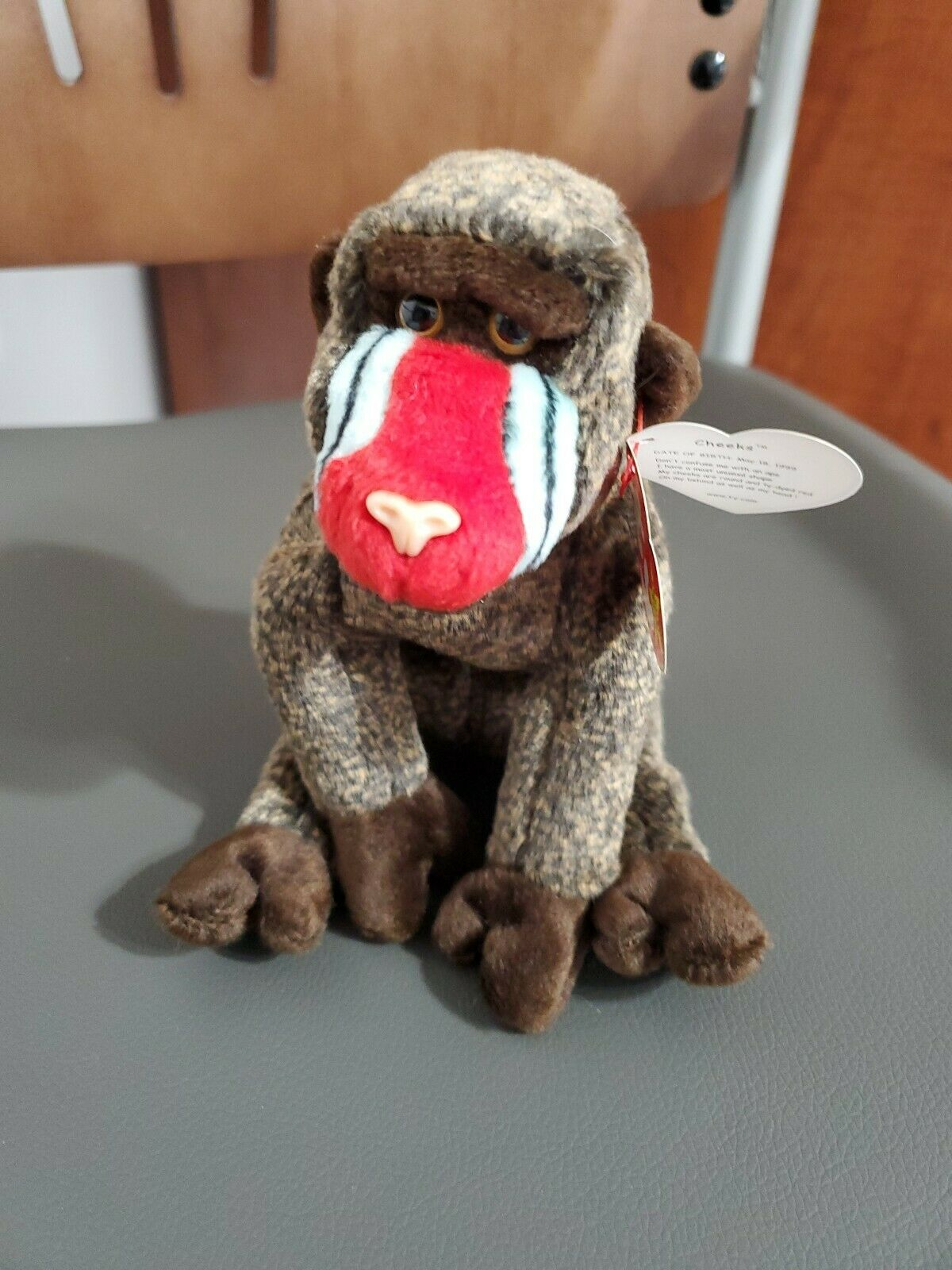TY 1999 Beanie Babies Baby,  Cheeks  The The The Baboon, RARE, MULTI TAG ERRORS 1d42e0