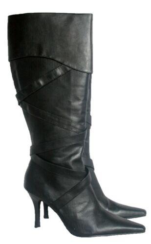 LADIES KNEE STILETTO HEEL BLACK POINTED BOOT WITH INSIDE ZIP /& SIZES 4 /& 8
