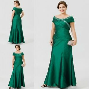 Mother of the Bride Dresses Plus Size Green Cap Sleeve Evening Party ...