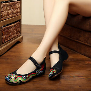 Women-Lady-Soft-Chinese-Embroidered-Casual-Ballerina-Mary-Jane-Flat-Shoes-Size