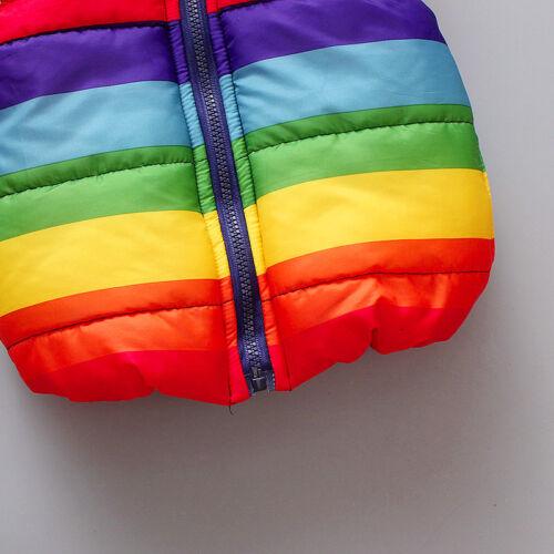 Kids Boys Girls Baby Rainbow Winter Vest Hoodie Waistcoat Coat Jacket Gilet Top