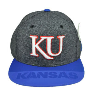 NCAA Adidas Kansas Jayhawks KU 348AZ Flat Bill Heather Gray Hat Cap Snapback