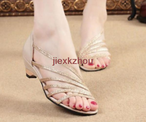 95e808f35d2 Casual Womens Shiny Ankle Strap Sandals Flip Flops Wedges Low Heel ...