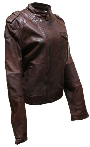 Mesdames Femmes Brando Style Mode Motard soft marron en cuir Rock Veste