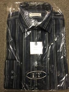 """15"""" Was £45.00 unopened Laine Taylor Pure Cotton Striped Shirt/navy"""