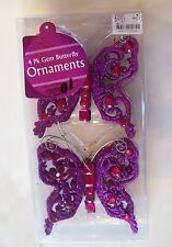 4 PURPLE GLITTER JEWEL BUTTERFLY SHATTER RESIS CHRISTMAS ORNAMENTS DECORATION