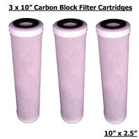 "REVERSE OSMOSIS RO 10"" CARBON BLOCK WATER FILTERS X 3"