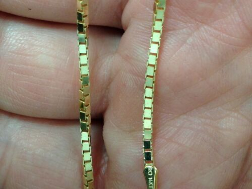 """BOX 068 14k Yellow Gold Box Link Pendant Chain Necklace 16/"""" 1.1 mm 3.5 grams"""