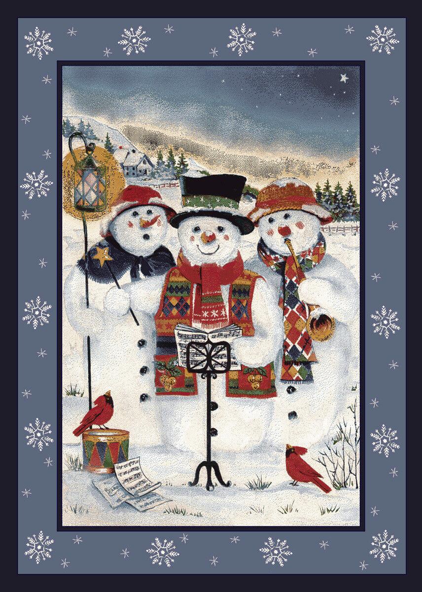 4x6 Milliken Merry Minstrels 00013 Carols Snowmen Area Rug - Approx 3'10 x5'4