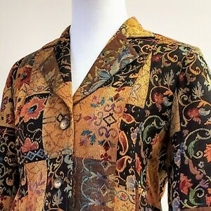 COLDWATER-CREEK-Jacket-Petite-Medium-Jacquard-Tapestry-Floral-Paisley-Blazer
