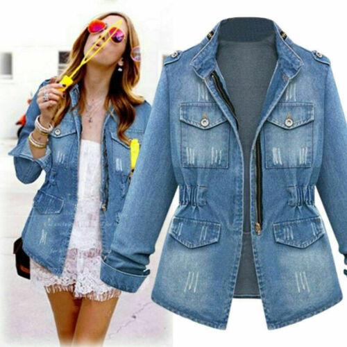 Women/'s Ladies Denim Oversize Jeans Zip Jackets Pocket Coats Plus Size UK 8-22