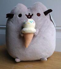 """GUND Authentic Pusheen Ice Cream Cone Gray Tabby Cat Plush Toy Boy Girl 9.5"""""""