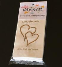 150 Wedding Cake Bags Gold Hearts Compliments Grease Proof Guest Take Home Bag